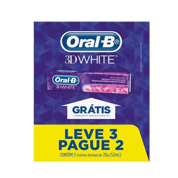 Creme Dental ORAL-B 3D White Brilliant 70G Pague 2 Leve 3